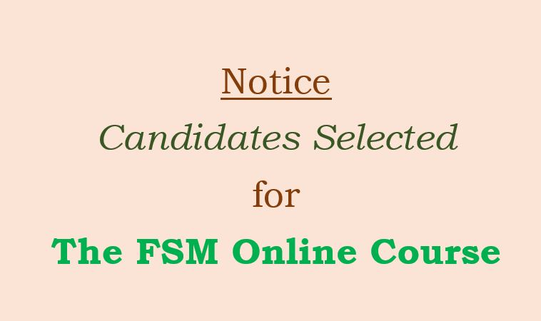 Successful Applicants for FSM Online Course